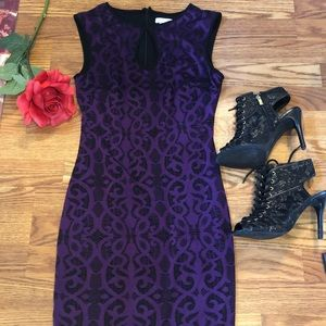 Cache purple and black midi dress, keyhole front